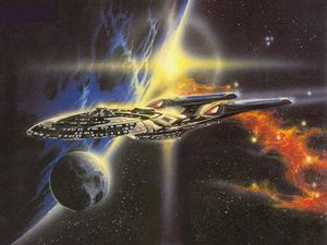 A painting of the USS Discovery Tyr keeps in his office