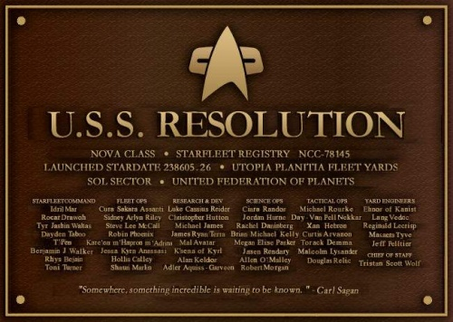 USS Resolution Dedication Plaque
